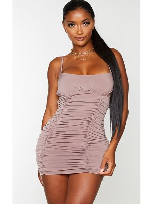 PrettyLittleThing shape slinky extreme ruched bodycon dress
