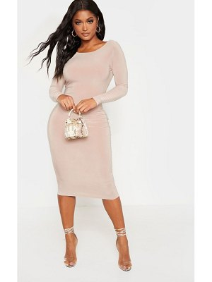 PrettyLittleThing shape slinky long sleeve ruched back midi dress