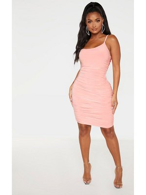 PrettyLittleThing shape slinky ruched asymmetric bodycon dress