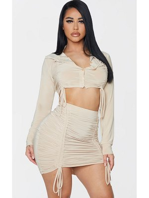 PrettyLittleThing shape slinky ruched collar detail crop top