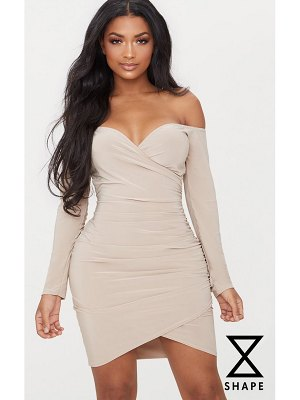 PrettyLittleThing shape slinky ruched detail bardot dress