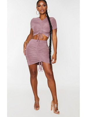 PrettyLittleThing shape slinky ruched front bodycon skirt