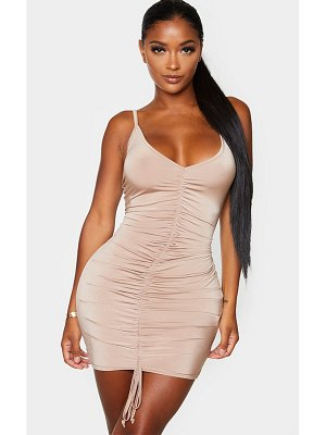 PrettyLittleThing shape slinky ruched front strappy bodycon dress
