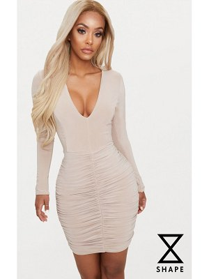 PrettyLittleThing shape slinky ruched mini dress