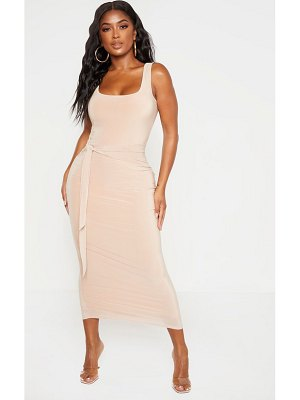 PrettyLittleThing shape slinky tie front midaxi dress