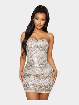PrettyLittleThing shape snake print bandeau sequin bodycon dress