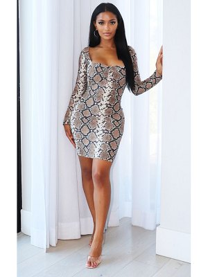PrettyLittleThing shape snake print long sleeve slinky ruched bust bodycon dress