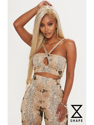 PrettyLittleThing shape snake print strappy crop top