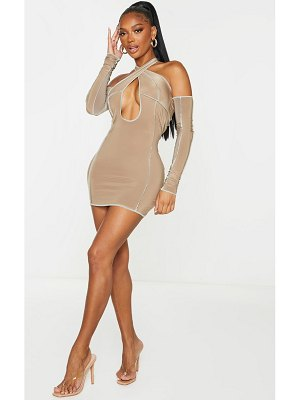 PrettyLittleThing shape soft brown slinky contrast stitch bardot halterneck bodycon dress