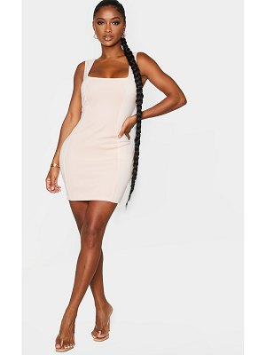 PrettyLittleThing shape square neck panel rib detail bodycon dress