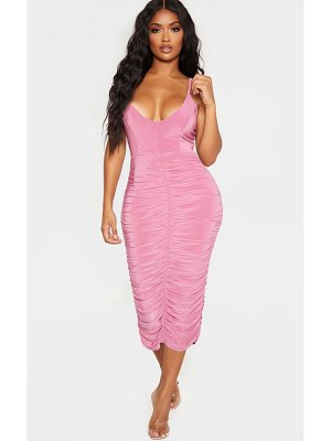 PrettyLittleThing shape strappy ruched midi dress