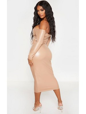 PrettyLittleThing shape taupe pu bardot ruched front cut out midi dress
