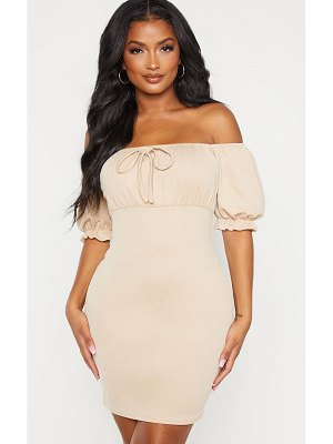 PrettyLittleThing shape tie detail puff sleeve bodycon dress