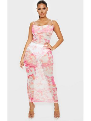 PrettyLittleThing shape tie dye mesh cowl neck maxi dress