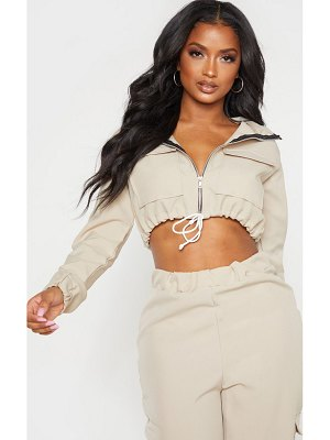 PrettyLittleThing shape utility zip front crop top