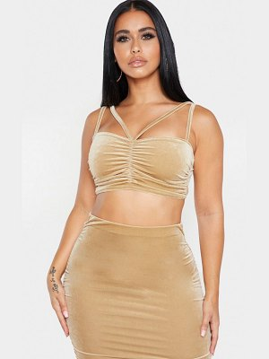 PrettyLittleThing shape velvet strappy ruched front crop top
