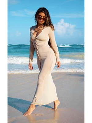 PrettyLittleThing sheer knit button up maxi dress
