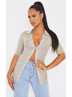 PrettyLittleThing sheer knit button up short sleeve cardigan
