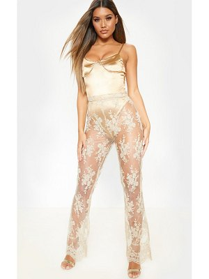 PrettyLittleThing sheer lace flare leg pants