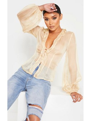PrettyLittleThing sheer ruffle collar organza shirt
