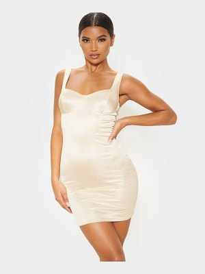 PrettyLittleThing shimmer cup detail bodycon dress