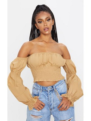 PrettyLittleThing shirred bardot puff sleeve crop top