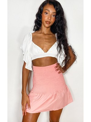 PrettyLittleThing shirred frill hem mini skirt