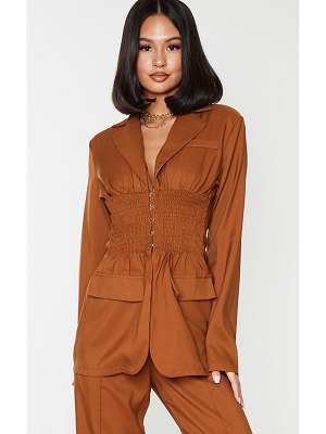 PrettyLittleThing shirred waist hook & eye longline blazer