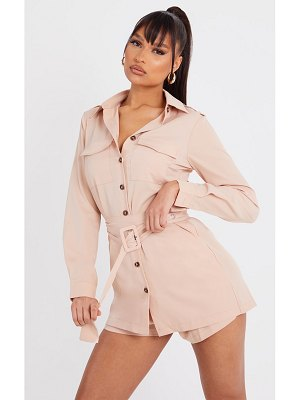 PrettyLittleThing shirt overlay belted utility romper