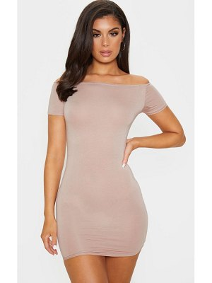 PrettyLittleThing short sleeve bardot bodycon dress