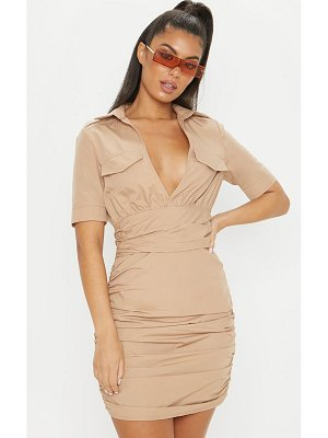 PrettyLittleThing short sleeve ruched detail bodycon shirt dress