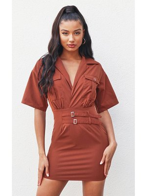 PrettyLittleThing short sleeve utility detail bodycon dress