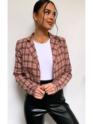PrettyLittleThing shoulder pad crop long sleeve check shirt