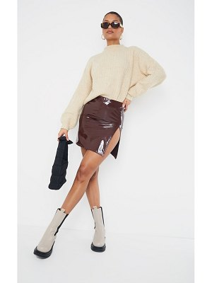 PrettyLittleThing side split vinyl mini skirt