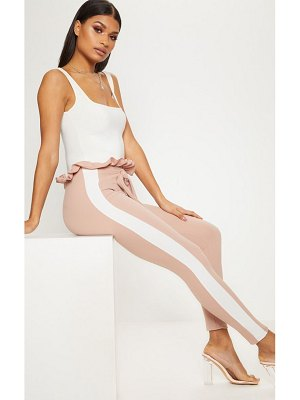 PrettyLittleThing side stripe paperbag skinny pants