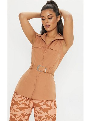 PrettyLittleThing sleeveless belted button front shirt