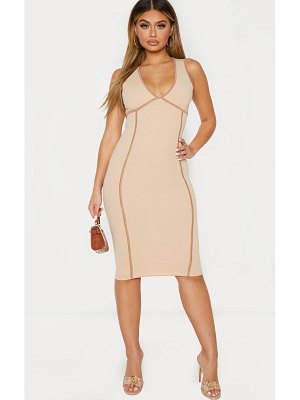 PrettyLittleThing sleeveless binding detail plunge midi dress