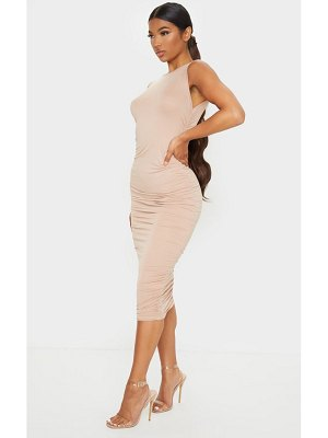 PrettyLittleThing sleeveless crew neck ruched side midi dress
