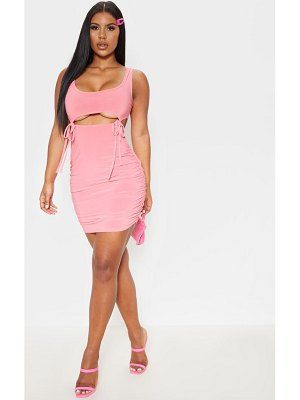 PrettyLittleThing sleeveless double tie cut out bodycon dress