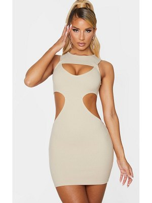 PrettyLittleThing sleeveless multi cut out bodycon dress