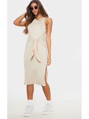 PrettyLittleThing sleeveless tie waist midi dress