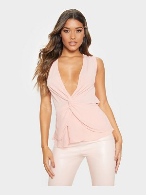 PrettyLittleThing sleeveless twist front blouse