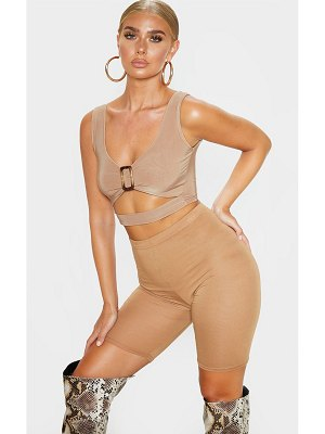 PrettyLittleThing slinky buckle detail cut out crop top