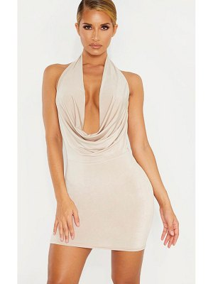 PrettyLittleThing slinky cowl neck double strap bodycon dress