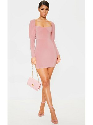 PrettyLittleThing slinky cup detail long sleeve bodycon dress