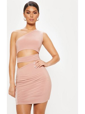 PrettyLittleThing slinky cut out ruched bodycon dress