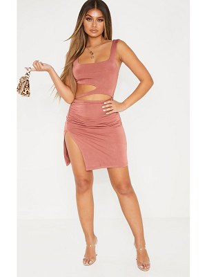 PrettyLittleThing slinky cut out ruched detail split front bodycon dress