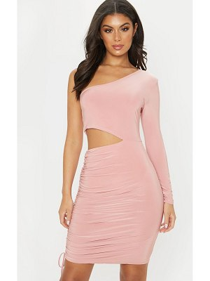 PrettyLittleThing slinky cut out ruched one sleeve bodycon dress