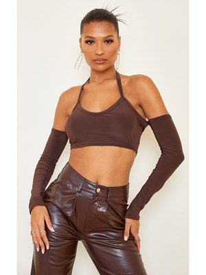 PrettyLittleThing slinky halterneck cold shoulder long sleeve crop top