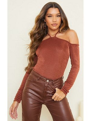 PrettyLittleThing slinky halterneck long sleeve long top